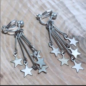 Vintage silver star dangle earrings clip 1039E